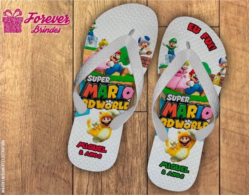 Chinelo Personalizado De Aniversário Mario Bros