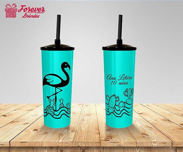 Copo Long Drink Com Tampa e Canudo Flamingo