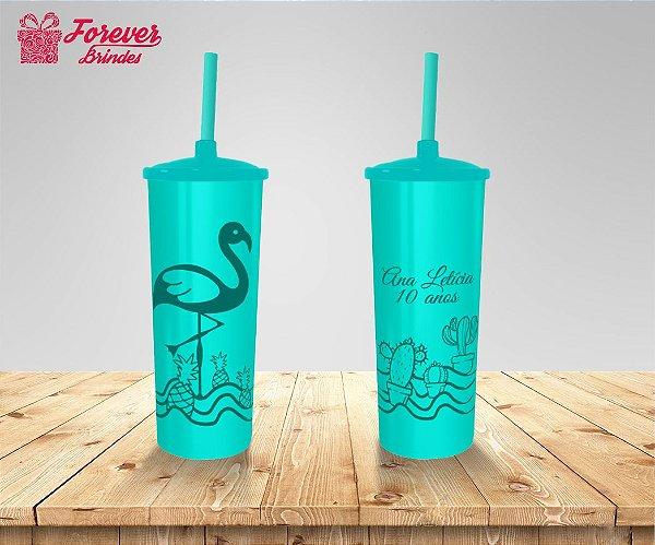 Copo Long Drink Tampa e Canudo De Flamingo