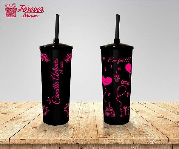 Copo Long Drink Tampa e Canudo 18 Anos Rosa