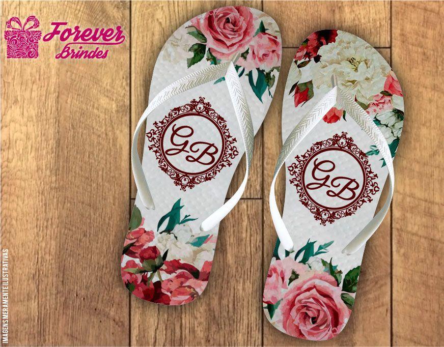 Chinelo De Casamento Com Flores Rosas