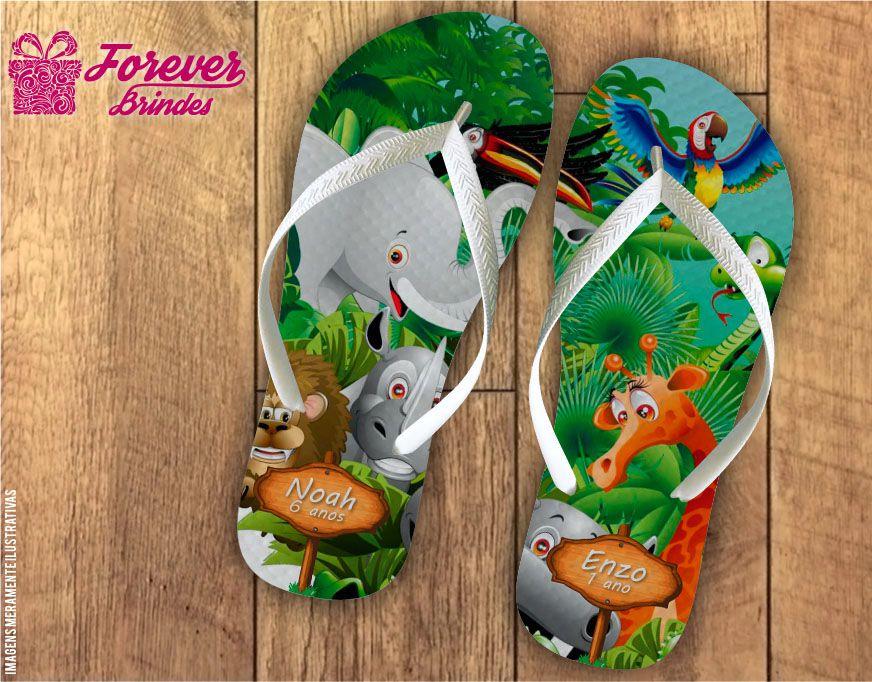 Chinelo De Aniversário Infantil Safari