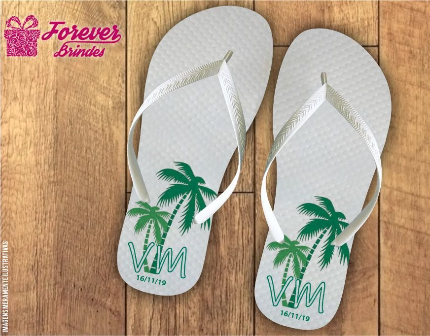 Chinelo De Casamento Personalizado Tropical