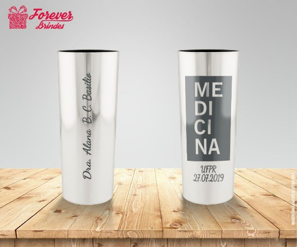 Copo Long Drink Prata Metalizado De Medicina