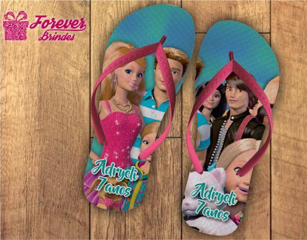 Chinelo Personalizado De Aniversário Da Barbie