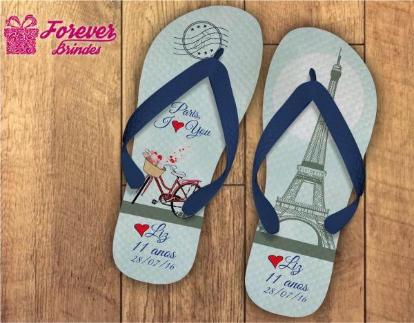 Chinelo Personalizado Aniversário Paris