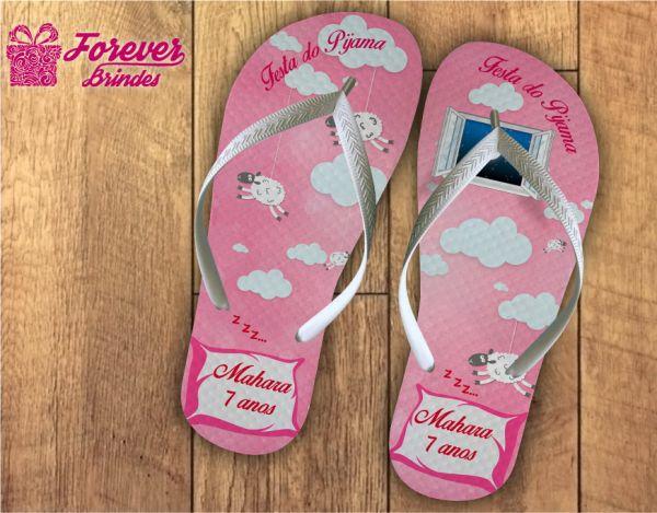 Chinelo Personalizado Aniversário Festa Do Pijama Rosa