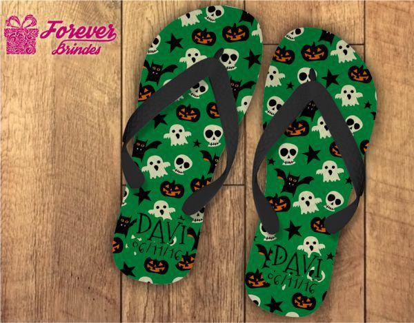Chinelo Personalizado Halloween Caveirinhas Verde