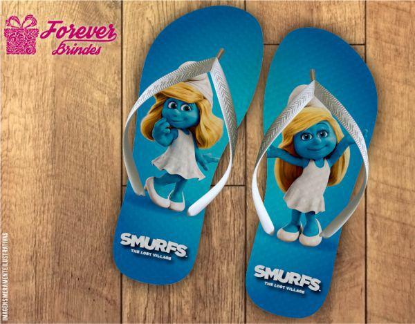 Chinelo Personalizados De Aniversário Dos Smurfs