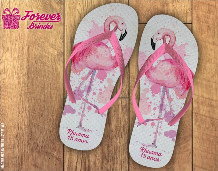 Chinelo Personalizado De 15 Anos Flamingo