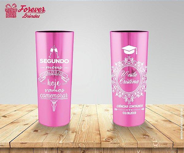 Copo Long Drink Metalizado Rosa Ciências Contábeis