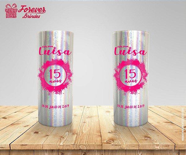 Copo Long Drink Holográfico De 15 Anos Rosa
