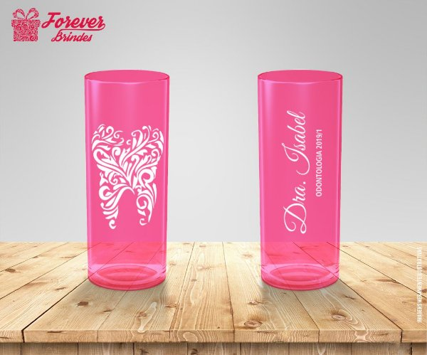 Copo Long Drink Rosa De Odontologia