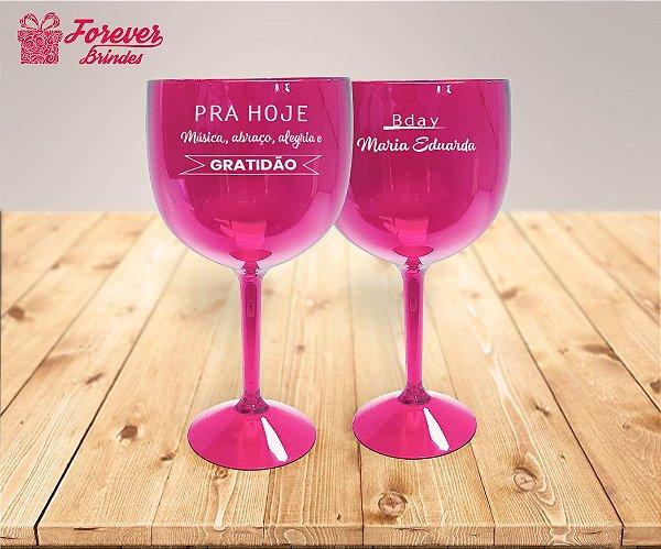 Taça De Gin Rosa Personalizada De Aniversário