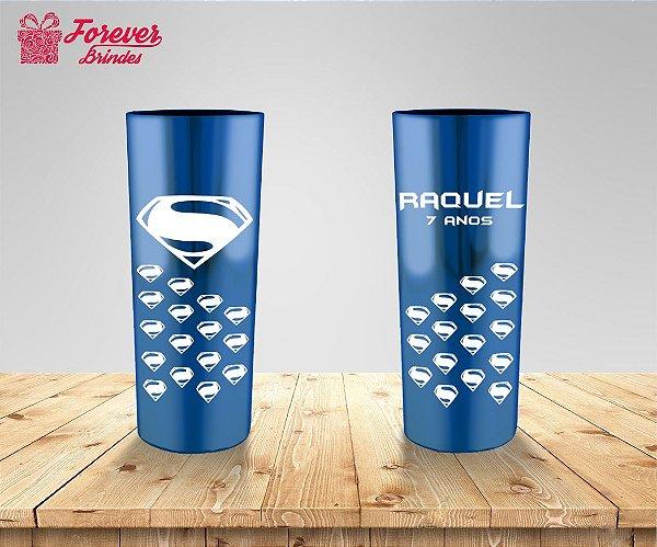 Copo Long Drink Metalizado Do Super Homem