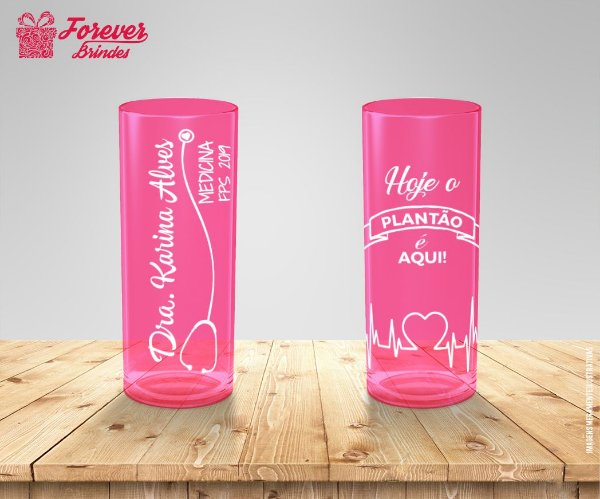 Copo Long Drink Rosa Formatura de Medicina