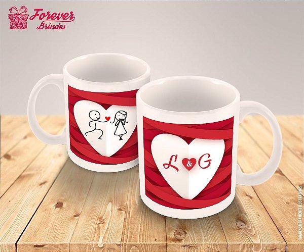 Caneca De Porcelana Dia Dos Namorados Casal De Palitinhos