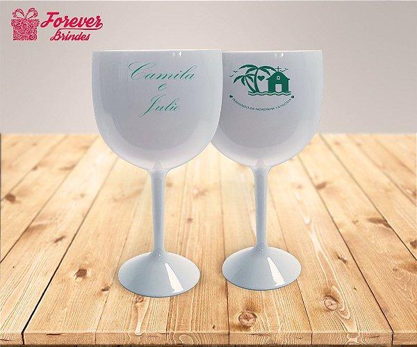 Taça De Gin Branca Personalizada de Casamento