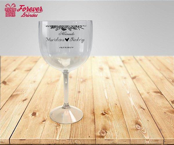 Taça De Gin Transparente Personalizada De Casamento