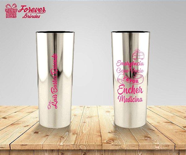 Copo Long Drink Metalizado De Medicina Com Rosa