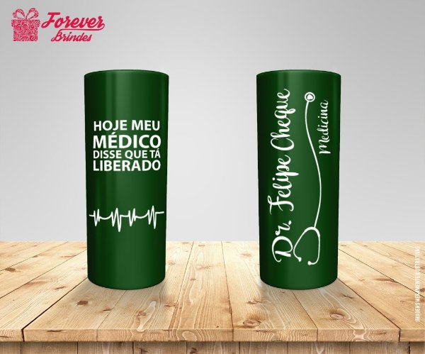 Copo Long Drink Verde Personalizado De Medicina
