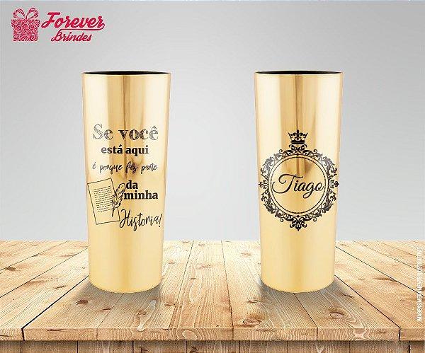Copo Long Drink Metalizado Dourado De Aniversário