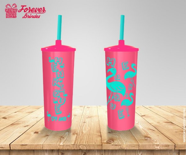 Copo Long Drink Rosa Aniversário Flamingo
