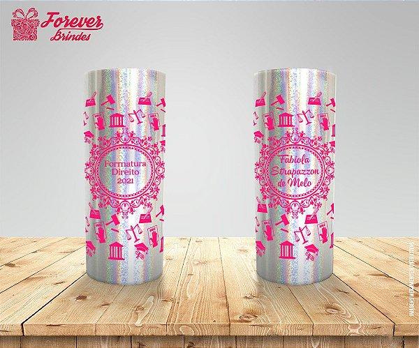 Copo Long Drink Holográfico Com Rosa De Direito