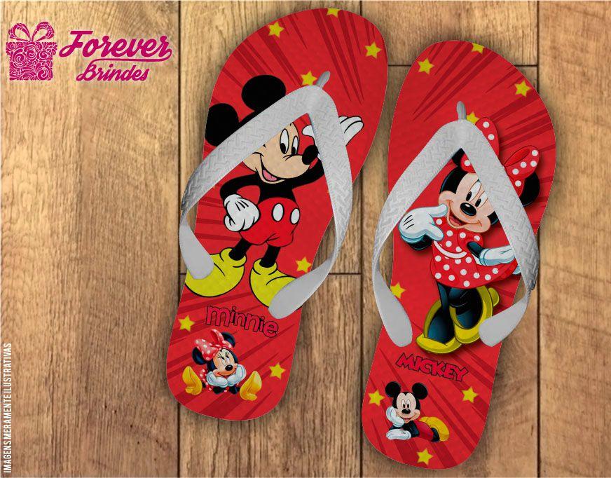 Chinelo Personalizado Vermelho Do Mickey