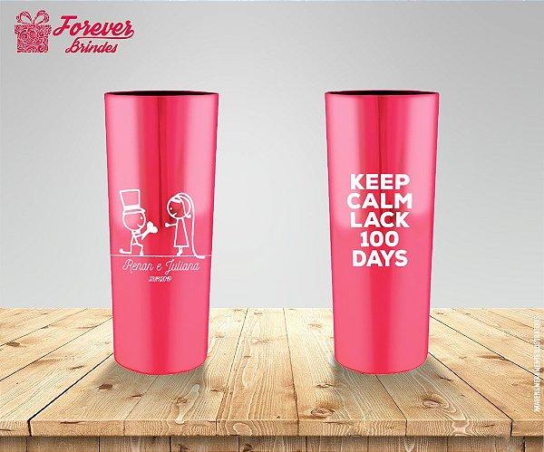 Copo Long Drink Metalizado Rosa De Casamento