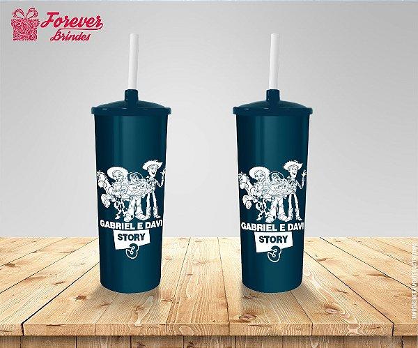 Copo Long Drink Tampa e Canudo Aniversário Toy Story