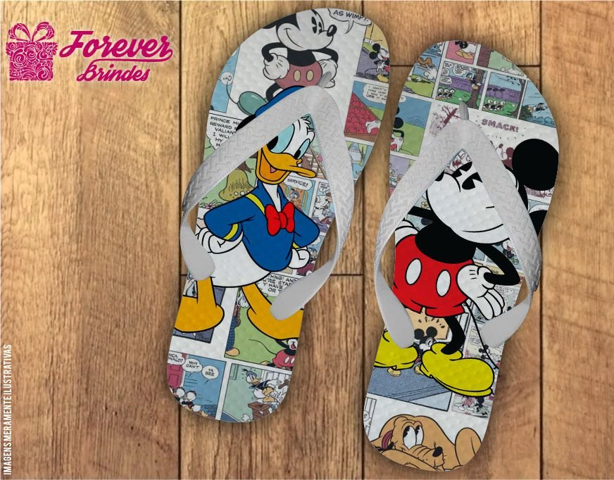 Chinelo Personalizado Aniversário Mickey E Minnie