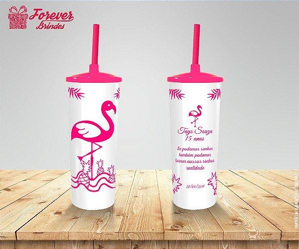 Copo Long Drink Com Tampa E Canudo De 15 Anos Com Flamingo