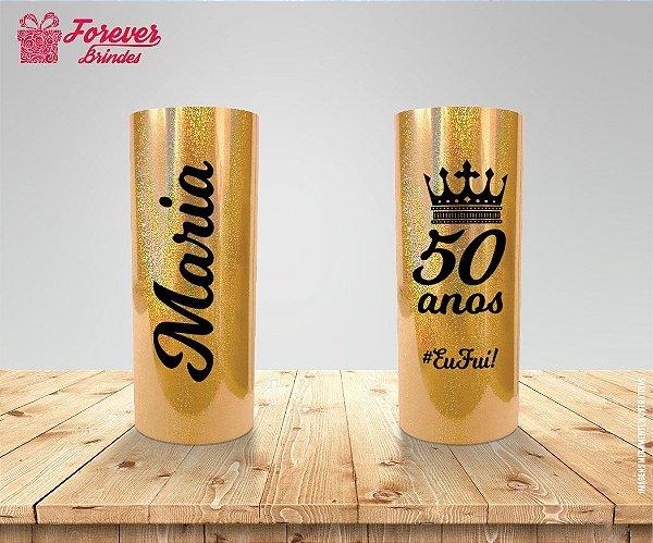 Copo Long Drink Holográfico Dourado De 50 Anos