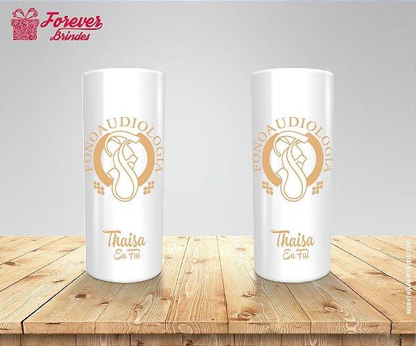 Copo Long Drink Personalizado De Fonoaudiologia Com Dourado