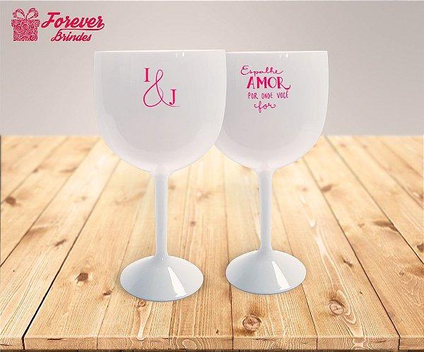 Taça De Gin Com Detalhes Rosa De Casamento