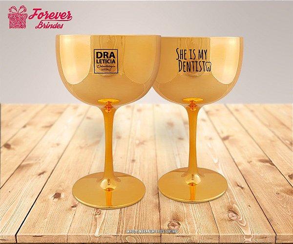 Taça De Gin Metalizada Dourada De odontologia