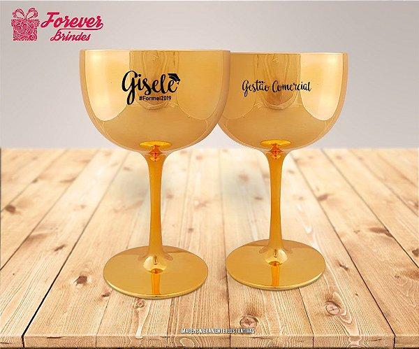Taça De Gin Metalizada Dourada De Gestão Comercial