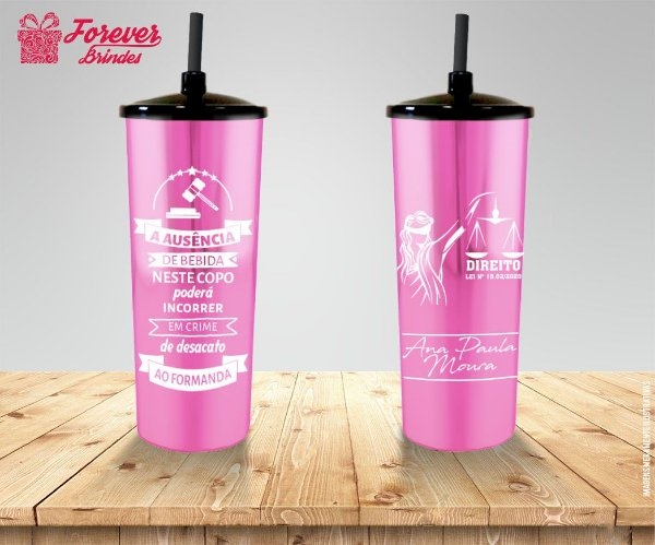Copo Long Drink Tampa e Canudo Metalizado Rosa De Direito