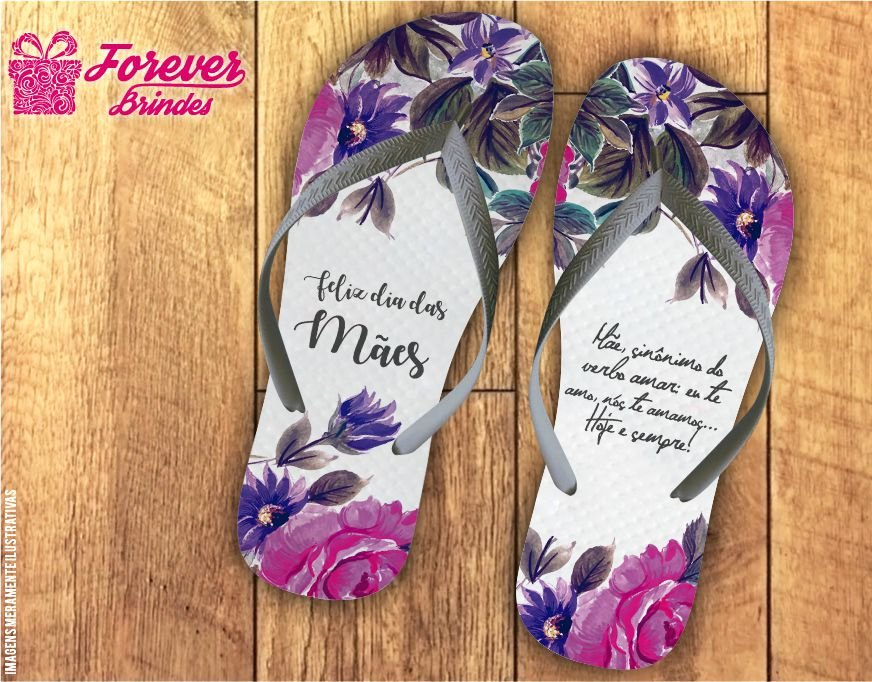 Chinelo Personalizado Feliz Dia Das Mães Flores do Jardim