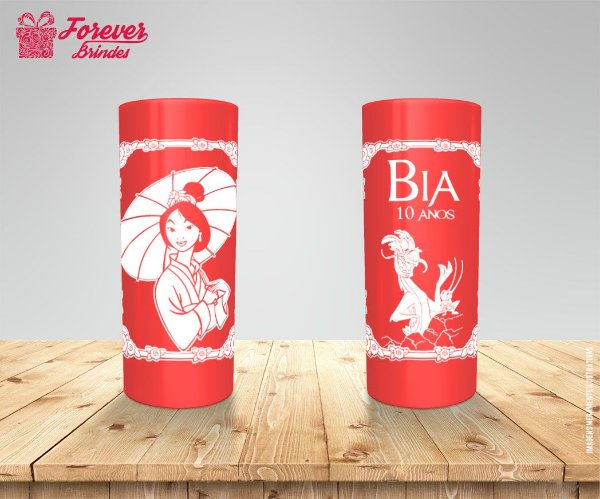Copo Long Drink De Aniversário Infantil Mulan