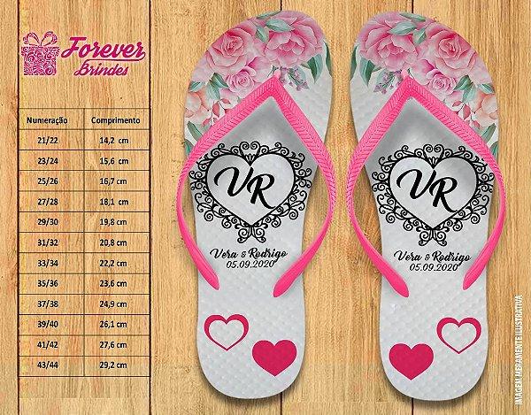 Chinelo Personalizado de  Casamento Rosas
