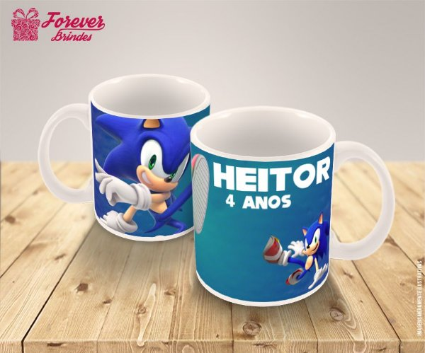 Caneca De Porcelana Infantil Sonic