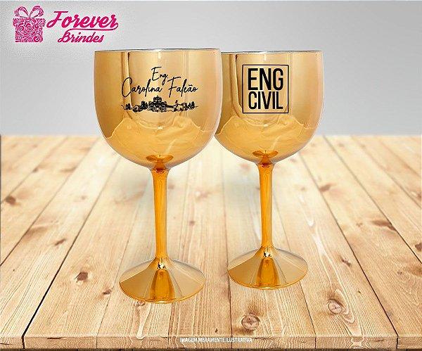Taça De Gin Metalizada Dourada Engenharia Civil