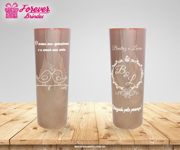 Copo Long Drink Metalizado Rose de Casamento