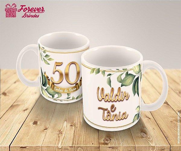 Caneca de Porcelana Casamento Bodas de Ouro