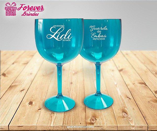 Taça De Gin Personalizada de  Aniversário Azul Tiffany