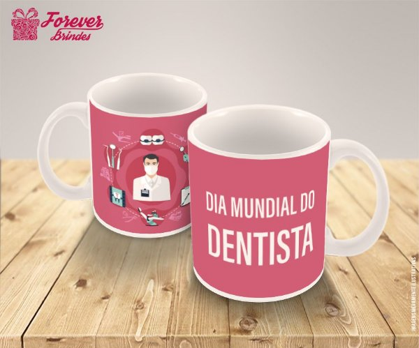 Caneca de Porcelana Dia Mundial do Dentista