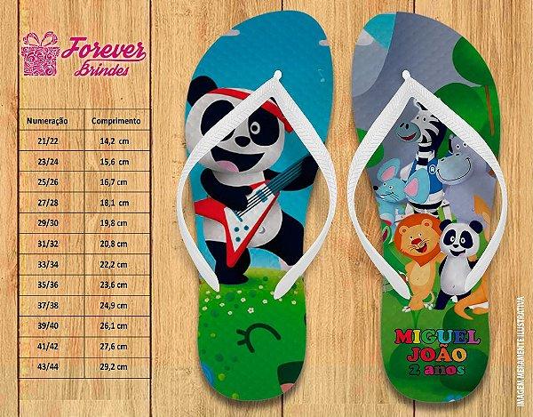 Chinelo Personalizado Aniversário Infantil Escola do Panda