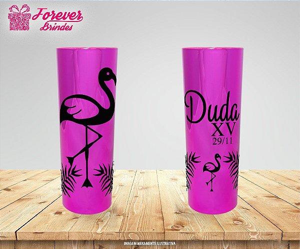 Copo Long Drink Metalizado 15 Anos Flamingo